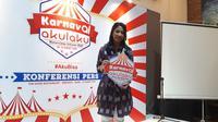 Director Corporate Affairs and Public Relations Akulaku, Anggie Setia Ariningsih, saat jumpa pers di Jakarta, Rabu (13/3/2019). (Liputan6.com/ Agustin S. Wardani)
