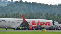 Lion Air tergelincir di Gorontalo belum dievakuasi. Foto: (Arfandi Ibrahim/Liputan6.com)