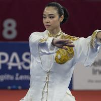 Sosok Lindswell Kwok, sang Ratu Wushu Asia yang jadi pahlawan di ajang Asian Games 2018 (Bola.com/Vitalis Yogi Trisna)