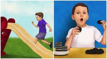 6 Ilustrasi Lucu Kebiasaan Masa Kecil Ini Sering Dilakukan, Bikin Nostalgia