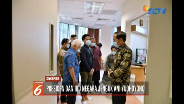 Presiden Jokowi ditemani Iriana menjenguk Ani Yudhoyono di National University Hospital, Singapura.