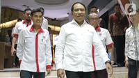 Menpora, Zainudin Amali bersiap memberi keterangan terkait kesiapan Indonesia sebagai tuan rumah Piala Dunia U-20 2021, Jakarta, Kamis (24/10/2019). Indonesia resmi ditunjuk FIFA sebagai penyelenggara Piala Dunia U-20 pada 2021. (Liputan6.com/Helmi Fithriansyah)