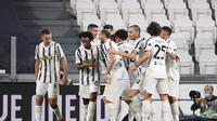 Selebrasi pemain Juventus saat menang atas Sampdoria di debut Andrea Pirlo (AP)