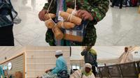 Jemaah haji mencoba membawa zamzam dan barang berlebih dari Tanah Suci. (www.haji.kemenag.go.id)
