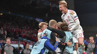 Denmark sukses berpesta gol di gawang Rusia usai kalahkan mereka dengan skor 4-1 pada pertandingan Grup B Euro 2020 yang berlangsung di Stadion Parken, Kopenhagen Denmark. (Foto: AP/Pool/Stuart Franklin)
