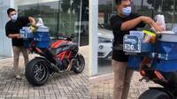 Viral, Jualan Siomay Keliling Tapi Pakai Moge Seharga Rp300 Jutaan. (Foto: Instagram @theornj)