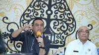 Menteri Pendayagunaan Aparatur Negara dan Reformasi Birokrasi Syafruddin saat berdialog dengan Asosiasi Media Siber Indonesia (AMSI) di Jakarta, Rabu (19/12/2018).
