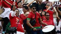 Pelatih Timnas Indonesia U-22, Indra Sjafri, mengajak seluruh masyarakat Indonesia datang ke Kamboja untuk mendukung timnya pada laga final Piala AFF 2019. (Bola.com/Zulfirdaus Harahap)