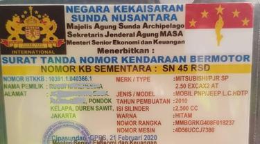 Kartu TNKB Kekaisaran Sunda Nusantara