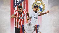 La Liga - Ilustrasi Luis Suarez dan Benzema, Trofi La Liga (Bola.com/Adreanus Titus)