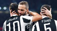 Juventus meraih kemenangan 2-1 atas AC Milan pada laga lanjutan Serie A 2017-2018 yang berlangsung di Allianz Stadium, Sabtu (31/3/2018) atau Minggu (1/4/2018) dini hari WIB. (AP Photo/Alessandro Di Marco)
