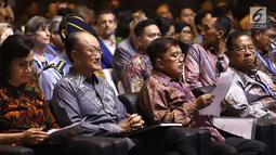 Wakil Presiden RI Jusuf Kalla saat menghadiri Dialog Tingkat Tinggi tentang Pembiayaan dan Asuransi Risiko Bencana selama acara IMF-World Bank Group 2018, Bali, Rabu (10/10). (Liputan6.com/Angga Yuniar)