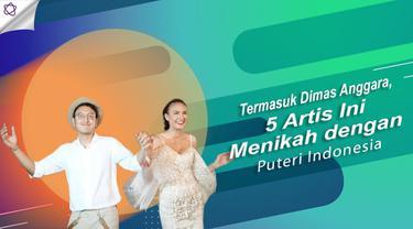 Dimas Anggara dan deretan artis yang jatuh ke pelukan Puteri Indonesia. (Foto: Instagram/indahkalo_ Desain: Nurman Abdul Hakim/Bintang.com)