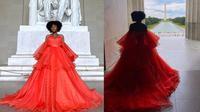 Jasmine Dauphine berfoto mengenakan gaun di depan Monumen Washington dan Lincoln Memorial. Sumber: Twitter/kidjazzyy