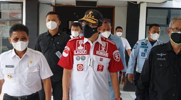 Menkumham Yasonna Laoly saat melihat penampakan Lapas Kelas I Tangerang usai kebakaran, Rabu (8/9/2021)