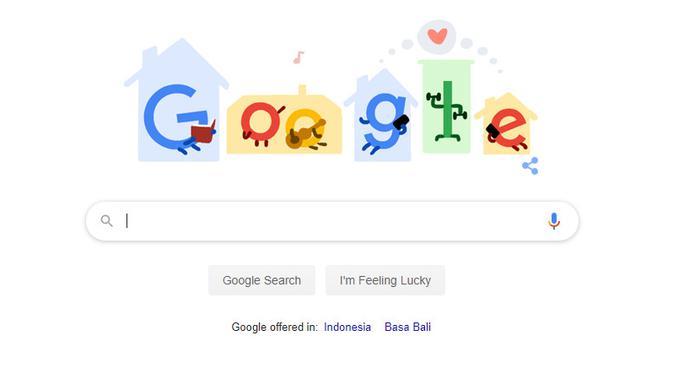 Tampilan Google Doodle yang mengajak orang-orang beraktivitas di rumah (sumber: Google)