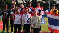 Tim panahan putra Indonesia meraih medali emas SEA Games 2019 nomor recurve di Parade Ground, Pampanga, Filipina, Minggu (8/12/2019). (Perpani)