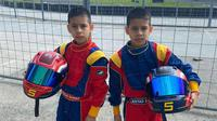 Pembalap kembar cilik Rasyad dan Risyad Halibi tampil di kejurnas Karting (istimewa)