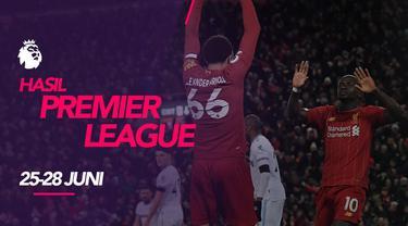 Berita motion grafis hasil Premier League 2019-2020 25-28 Juni 2020. Liverpool pastikan gelar juara.