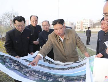 Kim Jong-un Tinjau Proyek Apartemen di Tepi Sungai Pothong