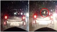 Terlihat penampakan seperti bocah di belakang mobil pada malam hari. (Sumber: TikTok/bbyasrieeeee)