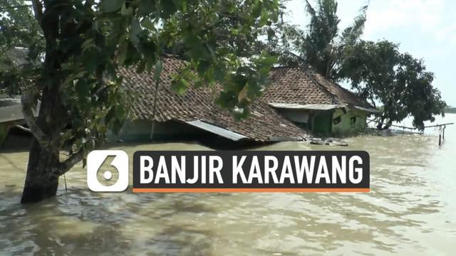Sejumlah wilayah di Kabupaten Karawang masih terendam banjir hingga Selasa (9/2). Ribuan rumah warga diterjang banjir yang tingginya mencapai 2 meter.