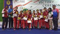 Indonesia rebut dua medali emas lewat bulutangkis beregu pada ASEAN School Games (Liputan6.com/Switzy)