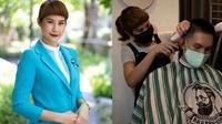 Akibat Corona, Pramugari Ini Alih Profesi Jadi Tukang Cukur Rambut (Sumber: Reuters)