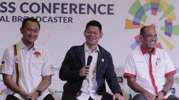 Ketua INAPGOC, Raja Sapta Oktohari, saat jumpa pers di SCTV Tower, Jakarta, Kamis, (8/2/2018). Emtek Group akan menayangkan siaran Asian Games 2018. (Bola.com/M Iqbal Ichsan)