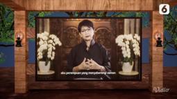 Menteri Luar Negeri Retno Marsudi sebagai Tokoh Perempuan Inspiratif membacakan puisi pada acara Anugerah Perempuan Hebat 2021 yang digelar secara daring. (Liputan6.com)
