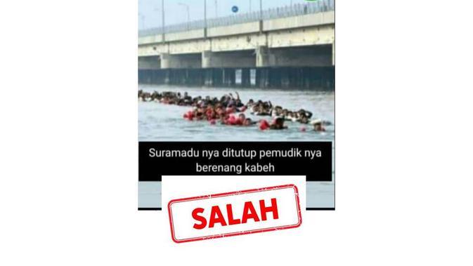Cek Fakta pemudik berenang di bawah Jembatan Suramadu