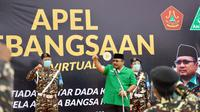 Ketua Umum Pimpinan Pusat GP Ansor Yaqut Cholil Qoumas saat memberikan orasi pada Apel Kebangsaan Banser secara virtual di Rembang, Jawa Tengah, Minggu (29/11/2020). (Ist)