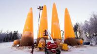Sejumlah 80 orang mahasiswa Eindhoven University of Technology (TU/e) mendirikan tiruan gereja Sagrada Familia dengan menggunakan es sebagai