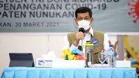 Ketua Satgas COVID-19 Doni Monardo minta Pemerintah Provinsi Kalimantan Utara agar antisipasi adanya potensi penularan COVID-19 di Nunukan, Kalimantan Utara, Selasa (30/3/2021). (Badan Nasional Penanggulangan Bencana/BNPB)