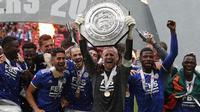 Leicester City menundukkan Manchester City dengan skor tipis 1-0 untuk menjuarai Community Shield 2021. (Adrian DENNIS / AFP)