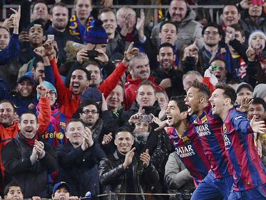 Barcelona pernah memiliki Trio penyerang hebat yaitu Lionel Messi, Luis Suarez dan Neymar Jr. (AFP/Josep Lago)