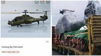 Viral, pria ini kira pesan helikopter mainan justru yang datang adalah asli. (Sumber: Twitter/@txtdarionlshop)