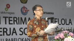 Presiden CNOOC Cui Hanyun memberikan sambutan saat serah terima alih kelola WK SES di Pulau Pebelokan, Kepulauan Seribu, Rabu (5/9). PT Pertamina resmi menjadi operator wilayah kerja (WK) Migas Southeast Sumatra (SES). (Liputan6.com/Herman Zakharia)