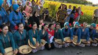 Menteri BUMN Rini Soemarno saat Panen Raya di Bantul, Yogyakarta. (Dok Kementerian BUMN)