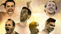 Ilustrasi - Xavi, Andres Iniesta, Sergio Busquets, Luka Modric, Toni Kroos, Casemiro (Bola.com/Adreanus Titus)