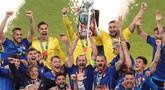 Lima pemain Timnas Italia yang berhasil meraih trofi Euro 2020 masuk nominasi penerima Ballon d'Or 2021. Bagaimanakah peluang mereka? Apakah Ballon d'Or 2021 akan sukses diraih? Atau nasib mereka serupa dengan 5 pemain berikut yang gagal meski menjuarai Euro? (AFP/Pool/Catherine Ivill)