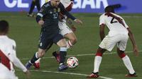 Bintang Argentina, Lionel Messi pada duel kontra Perlu di kualifikasi Piala Dunia 2022. (ALEJANDRO PAGNI / AFP)