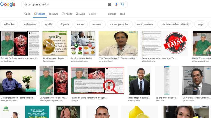 Cek Fakta - pencarian sosok Guruprasad Reddy (Google Search)