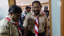 Ketua Kwarnas Pramuka Budi Waseso usai konferensi pers di Jakarta, Selasa (16/10). Dalam keterangannya Budi Waseso menanggapi Video Kampanye Pilpres 2019 Pakai Atribut Pramuka yang sempat viral adalah bukan anggota Pramuka. (Liputan6.com/Johan Tallo)