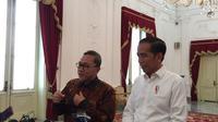 Presiden Joko Widodo atau Jokowi bertemu empat mata dengan Ketua Umum PAN Zulkifli Hasan di Istana Merdeka. (Liputan6/Lizsa Egeham)