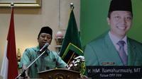 Ketum PPP, Romahurmuziy saat memberkan pembekalan kepada pada caleg PPP di Solo, Rabu (10/10). (Liputan6.com/Fajar Abrori)