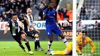 Pemain Newcastle United Isaac Hayden (kiri) merayakan golnya ke gawang Chelsea pada pertandingan Liga Inggris di St James' Park, Newcastle, Inggris, Sabtu (18/1/2020). Newcastle United menang 1-0. (Owen Humphreys/PA via AP)