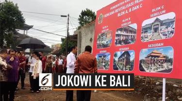 Presiden Joko Widodo atau Jokowi meninjau rencana revitalisasi Pasar Sukawati Jalan Ciung Wanara Kecamatan Sukawati Kabupaten Gianyar Bali, Jumat (14/6/2019). Jokowi yang ditemani Ibu Negara Iriana turut membeli buah-buahan disela-sela peninjauannya.