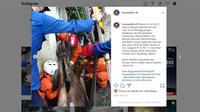 Dua regu penyelamat dari Damkar Jakarta Selatan dan Damkar Tangsel mengevakuasi sapi kurban terperosok ke dalam got menggunakan crane. (Instagram @humasjakfire)