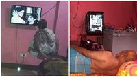 Pose bapak-bapak kelewat santai saat nonton tv ini bikin ketawa. (Sumber: Instagram/@sukijan.id)